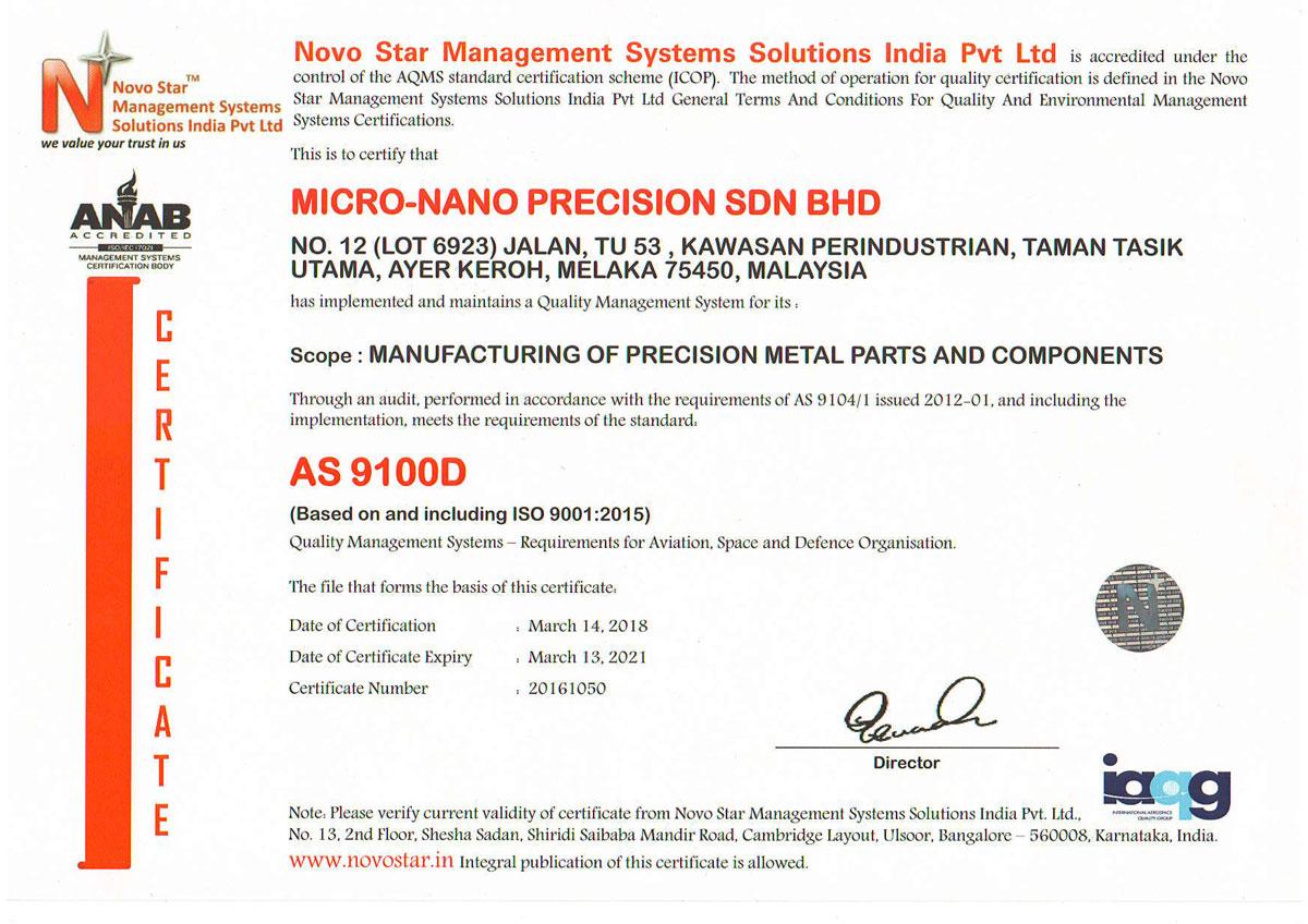 Certification Micro Nano Precision Sdn Bhd